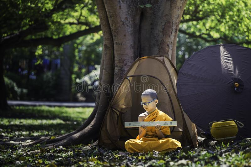 Novices are sitting practicing preaching. BANGKOK, THAILAND – APRIL 8: A small summer novice, white skin, wearing a yellow cloth, sitting reading a book royalty free stock image