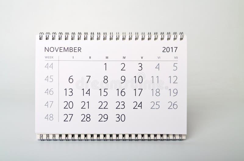 noviembre Calendario del año dos mil diecisiete imágenes de archivo libres de regalías