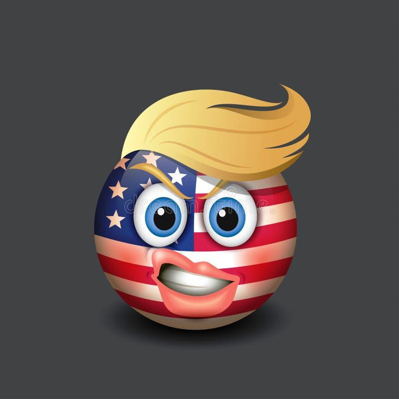 Noviembre, 11 2016 : El Emoticon con los labios encrespados, el pelo rubio y los Estados Unidos de América señalan el motivo por  ilustración del vector