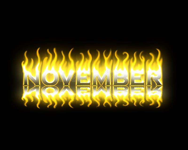 Noviembre en el fuego stock de ilustración