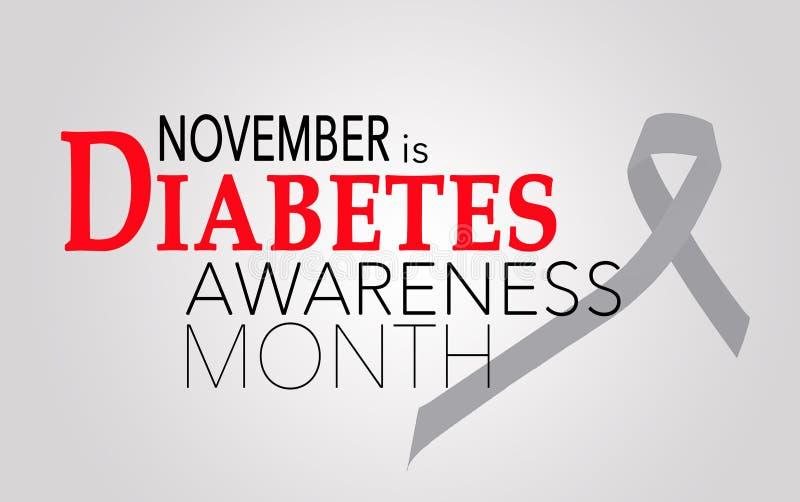 Noviembre es mes de la conciencia de la diabetes stock de ilustración