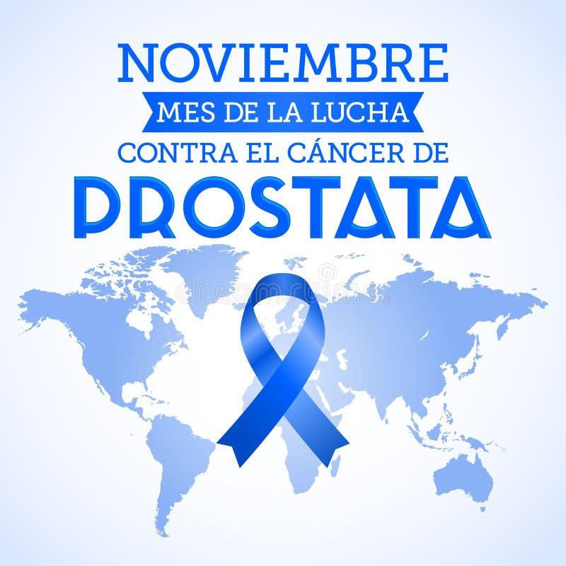 Noviembre mes de la lucha contra el cáncer de Prostata, mes del EL de noviembre de la lucha contra español del cáncer de próstata stock de ilustración