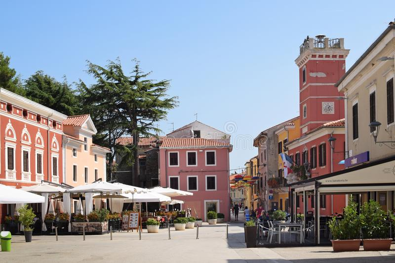 NOVIGRAD, CROATIA - SEPTEMBER 1, 2017: Quiet square in Novigrad. Novigrad is a small Istrian coastal town with narrow winding st stock photos