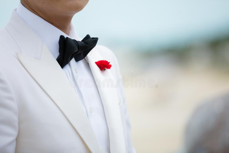Novio en la playa en la boda imagenes de archivo