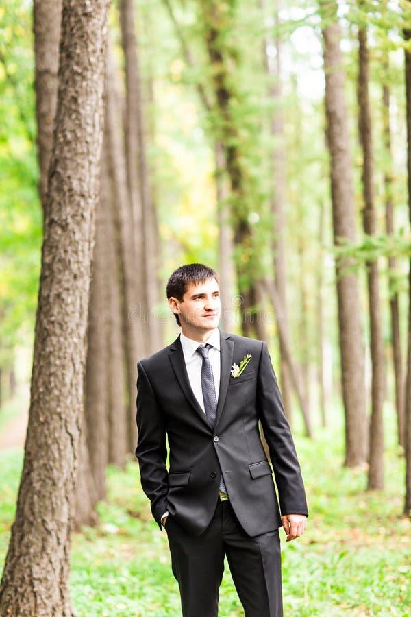 Novio hermoso en traje en la naturaleza Retrato masculino al aire libre El hombre está presentando fotografía de archivo