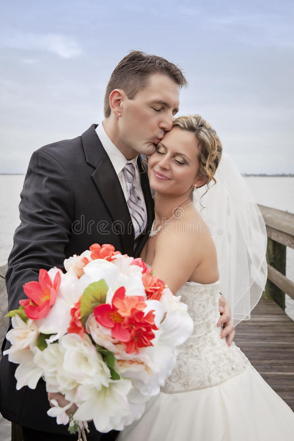 Novio que besa a la novia fotografía de archivo libre de regalías