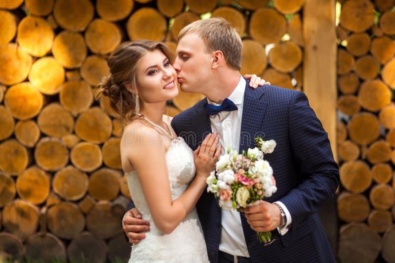 Novio que besa a la novia cerca de registros de madera fotografía de archivo