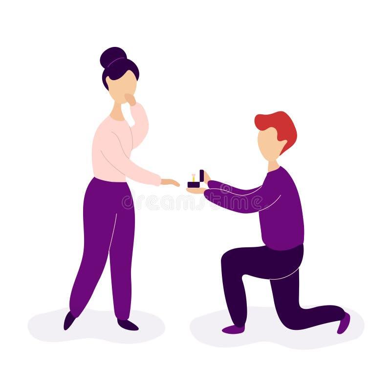 novio que hace propuesta de matrimonio a la novia libre illustration