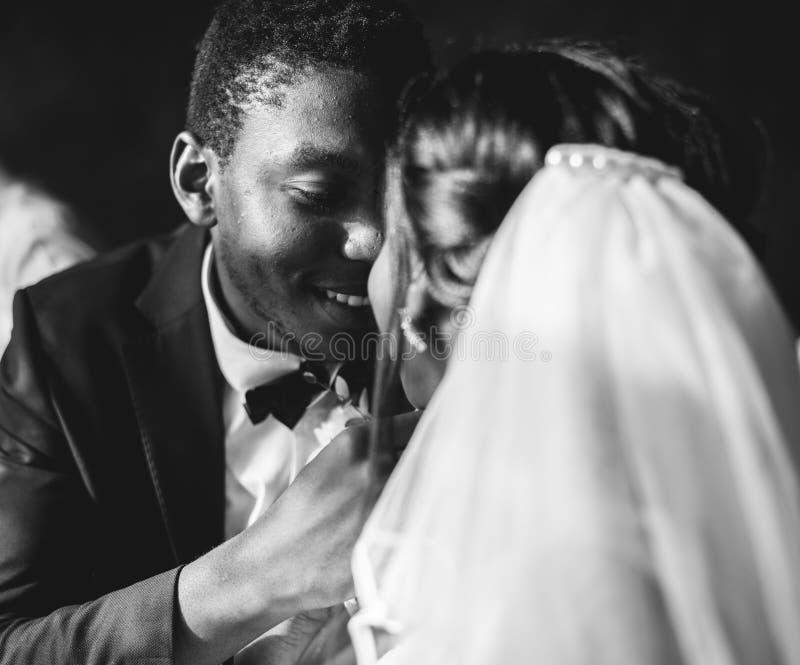 Novio Wedding Celebration de la novia de la ascendencia africana del recién casado fotografía de archivo libre de regalías