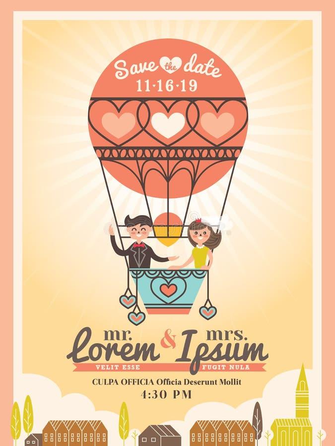 Novio y novia en tarjeta de la invitación de la boda del globo libre illustration