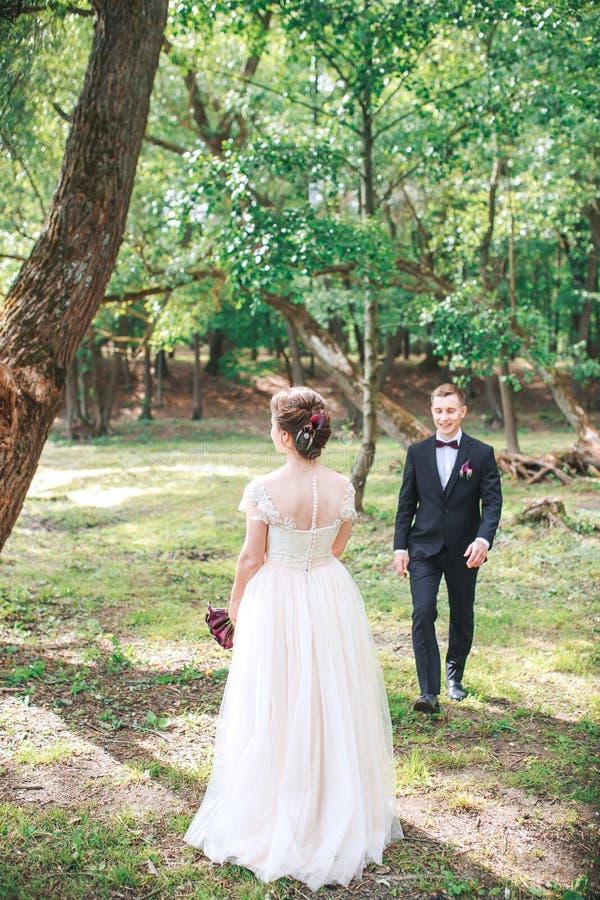 Novio y novia junto Casandose los pares románticos al aire libre fotos de archivo libres de regalías