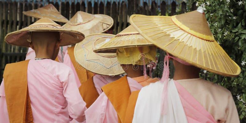 Novisnunna som går med bambuhatten arkivfoto