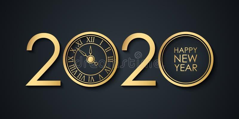 2020 Novo ano celebra banner com números 2020 de design criativo, relógio de ouro e boas-vindas de feriado de Feliz Ano Novo ilustração stock