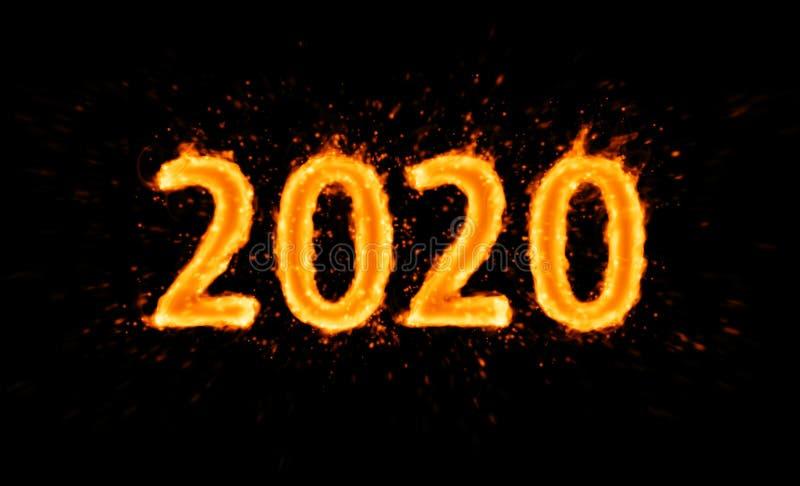 Novo ano 2020: número de flaming a preto ilustração royalty free