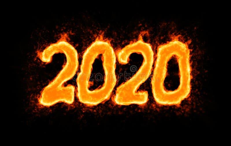 Novo ano 2020: número de flaming a preto ilustração do vetor
