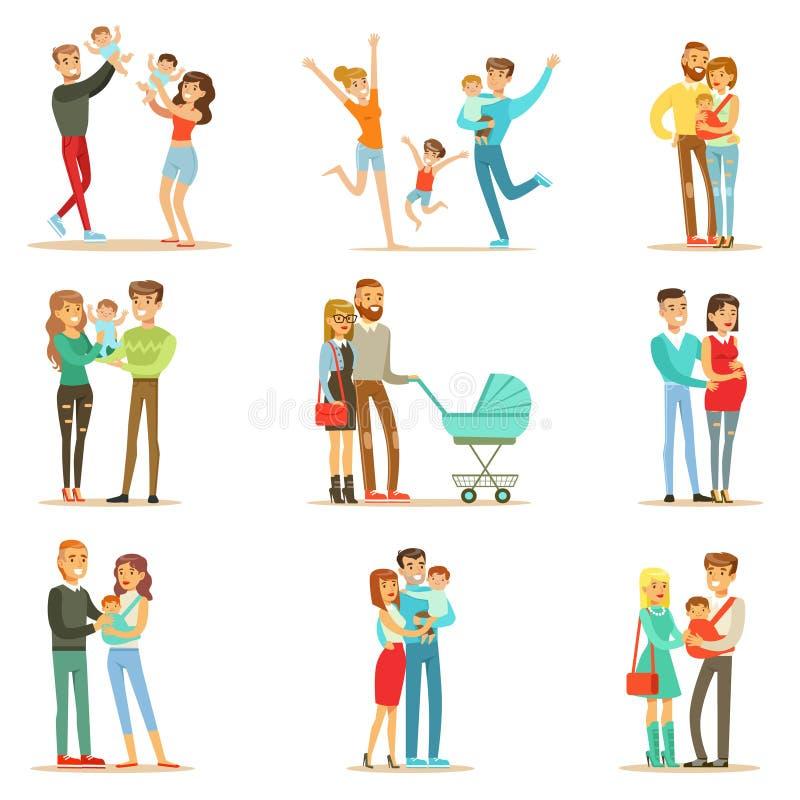 Novo e esperando pais com bebês e as crianças pequenos Serie de retratos completos felizes da família ilustração do vetor