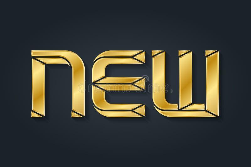Novo - inscrição Letras luxuosas do ouro ilustração do vetor