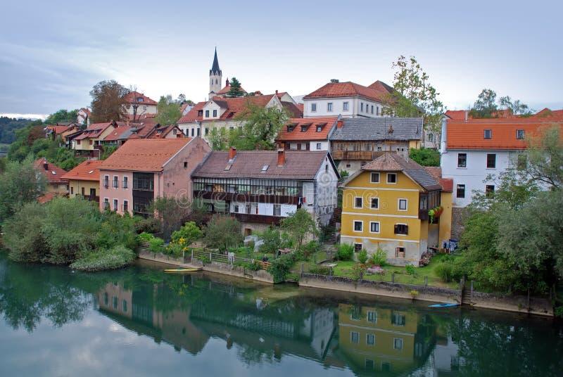 Novo Mesto riverside- Sloveni stock photo
