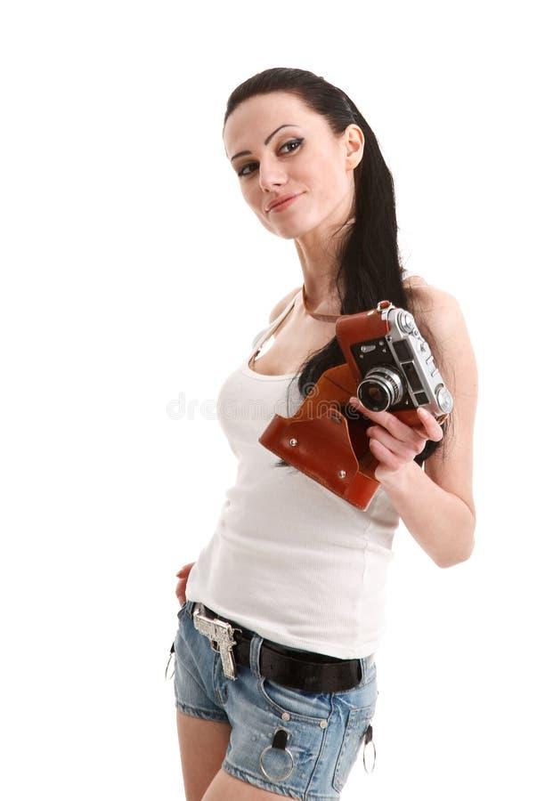 Novo, 'sexy', mulher com câmera retro. fotografia de stock