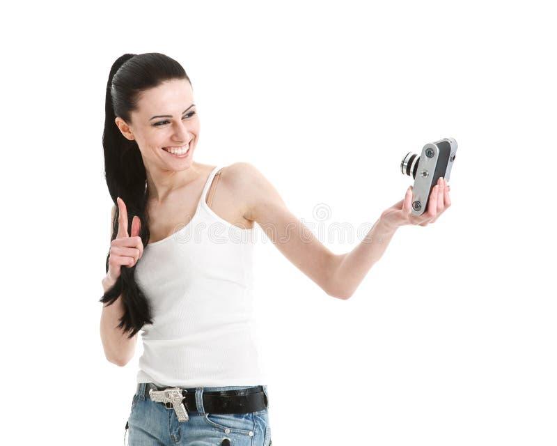Novo, 'sexy', mulher que fotografa-se. fotografia de stock