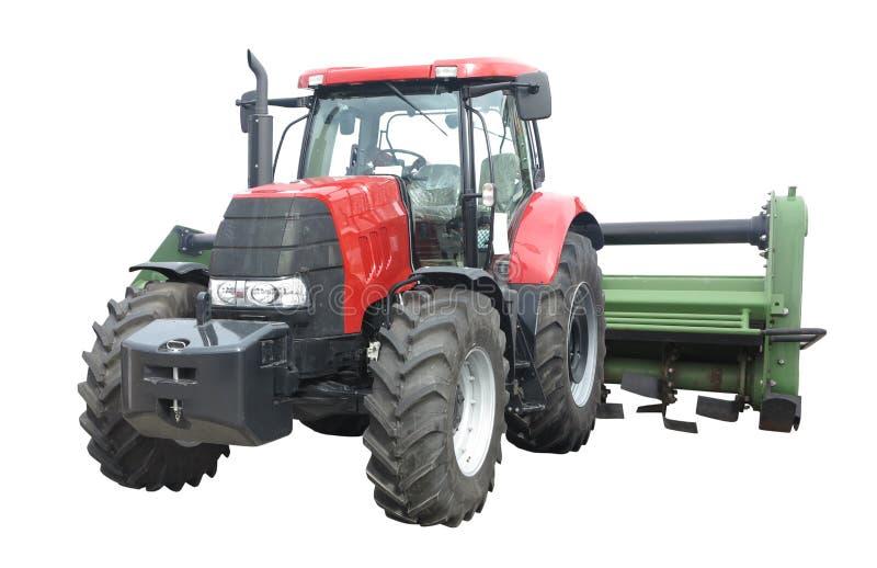 Novo trator poderoso abstrato com equipamento agrícola isolado em fundo branco fotografia de stock royalty free