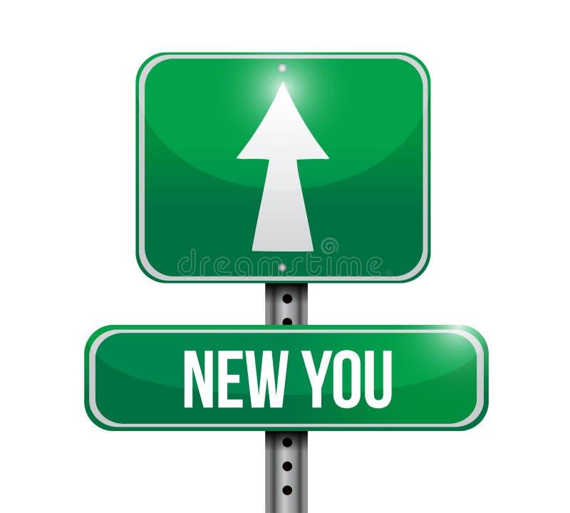 Novo você projeto da ilustração do sinal de estrada ilustração stock