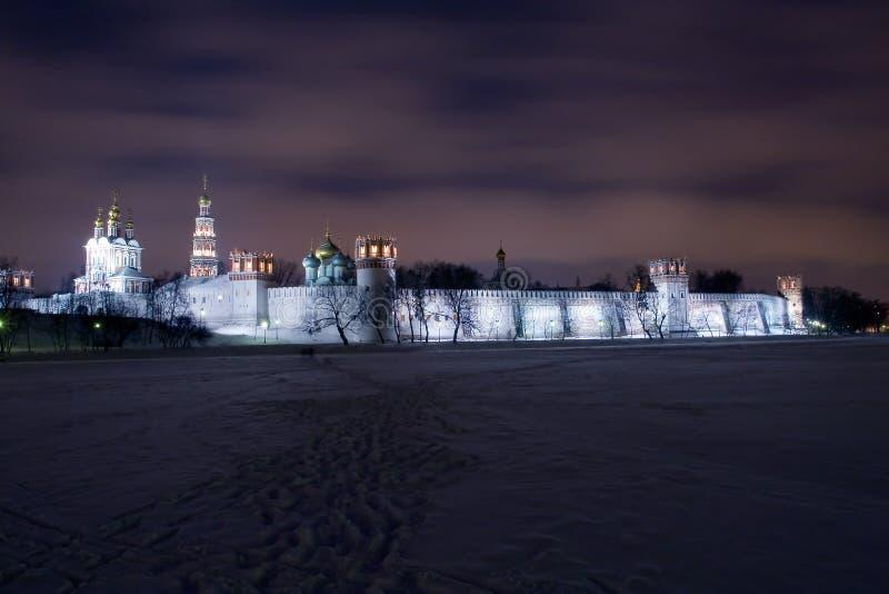 novodevichiy landskap för klosternatt royaltyfri bild