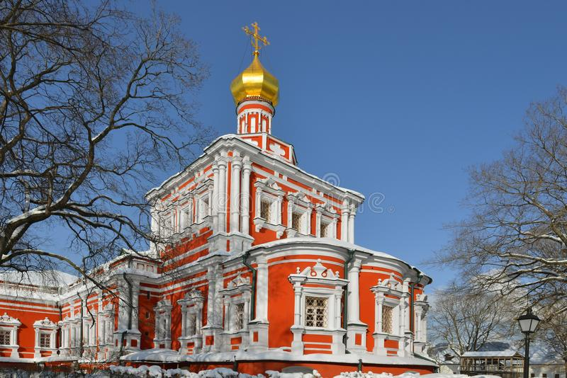 Novodevichy Convent also known as Bogoroditse Smolensky Monastery in Moscow. Assumption Cathedral 1685 – 1687. Novodevichy Convent also known as royalty free stock image