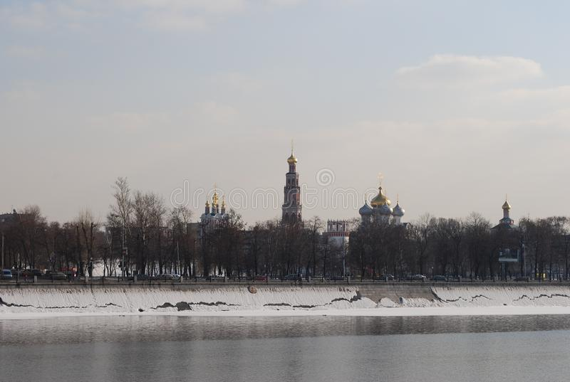 Novodevichy Convent and Moskva River winter in the sunny day. royalty free stock image