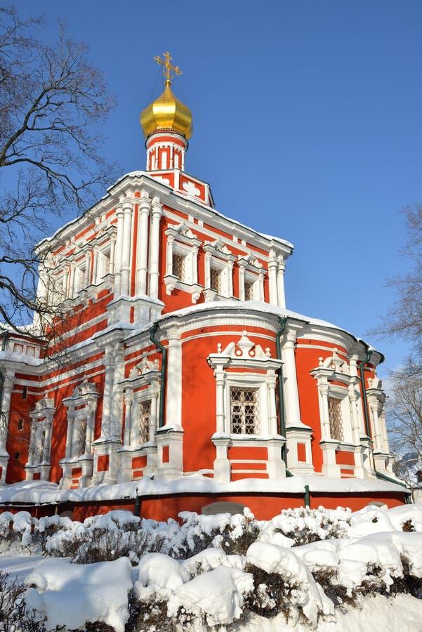 Novodevichy klasztor także znać jako Bogoroditse Smolensky monaster w Moskwa Wniebowzięcie katedry 1685 †'1687 w zimie obraz royalty free
