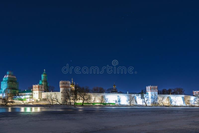 Novodevichyklooster, als Klooster bogoroditse-Smolensky in Moskou, Rusland ook wordt bekend dat stock afbeeldingen
