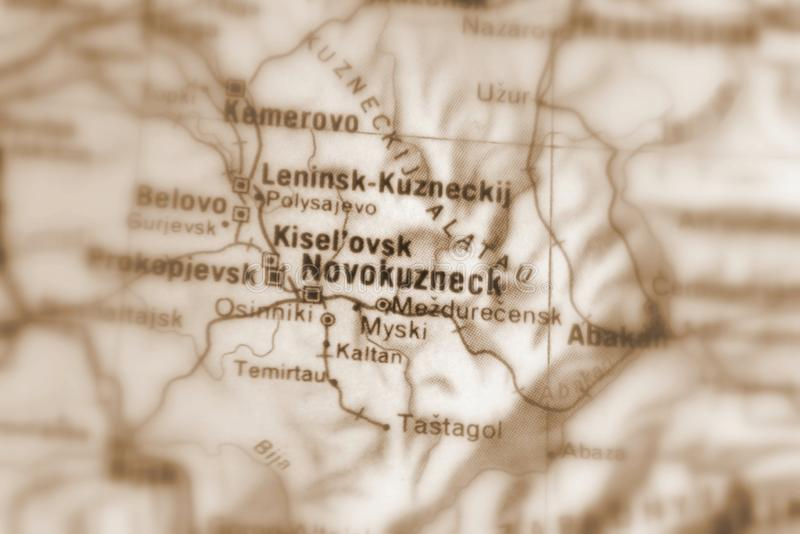 Novokuznetsk, a city in Russia. Novokuznetsk, a city in the Russian Federation selective sepia focus royalty free stock image