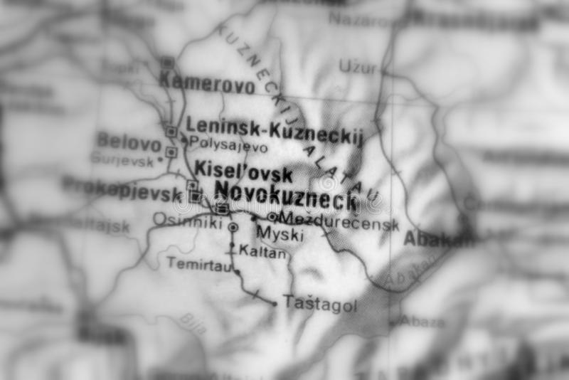 Novokuznetsk, a city in Russia. Novokuznetsk, a city in the Russian Federation selective black and white focus royalty free stock images