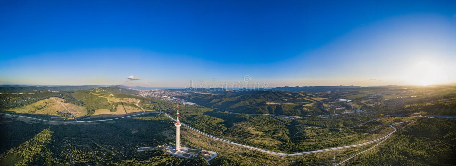 Novorossiysk city from a height at sunset stock images