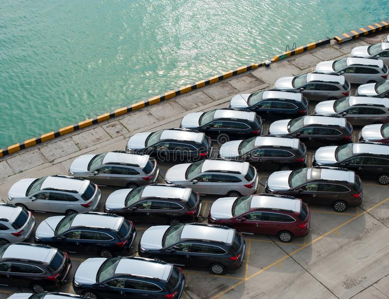 Novorossiysk, Russia - May, 18, 2017: A lot of new cars Subaru Forester parked on the site for sale. View from above. A lot of new cars Subaru Forester parked on royalty free stock image