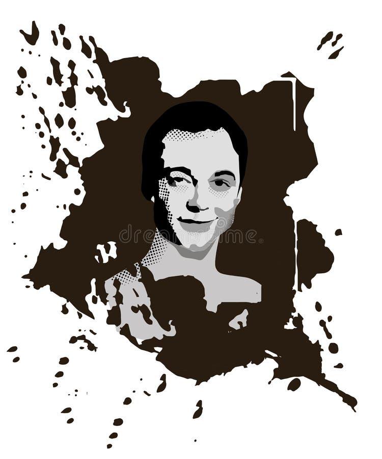Novorossyisk Ryssland - Februari 19, 2019: Stående av en Sheldon Cooper Ñ haracter från den populära TV-serie The Big Bang Theor stock illustrationer