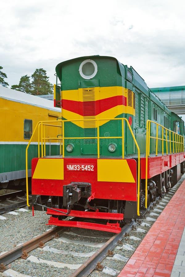 Czechoslovak shunting diesel locomotive with electric transmission. Novosibirsk Museum of railway equipment, Siberia, Russia. Novosibirsk Museum of railway stock photos