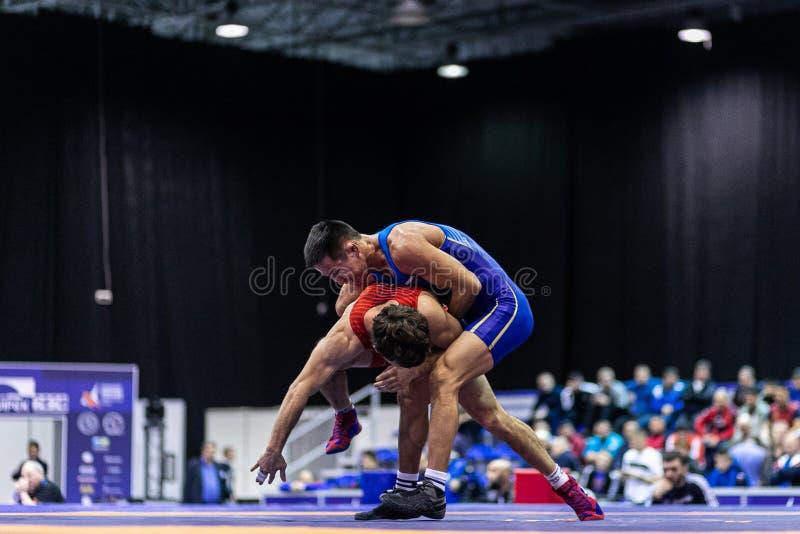 Novosibirsk, Rusia - 19 de enero de 2020 : Campeonato Ruso de Lucha Greco-Romana foto de archivo