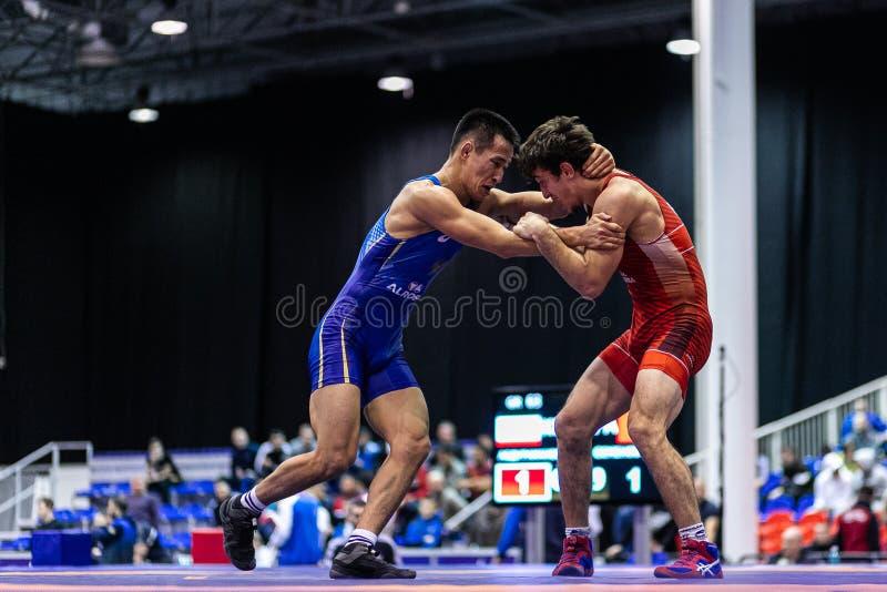 Novosibirsk, Rusia - 19 de enero de 2020 : Campeonato Ruso de Lucha Greco-Romana fotografía de archivo