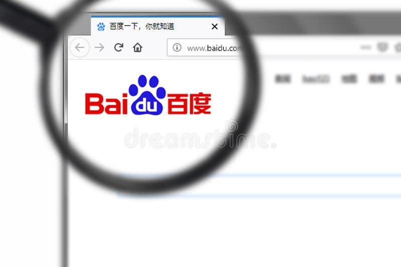 Novosibirsk, Rusia - 15 de junio de 2019 - editorial ilustrativo del homepage de la página web de Baidu Inc Logotipo de Baidu inc foto de archivo libre de regalías