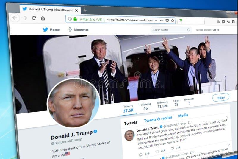 Novosibirsk, Rusia - 13 de mayo de 2018 - la página oficial del gorjeo para Donald Trump imágenes de archivo libres de regalías