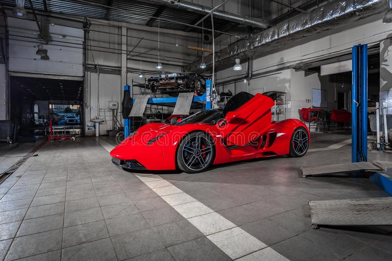 Novosibirsk, Russia - August. 16, 2018: Sports car red Marussia model B1 royalty free stock photography