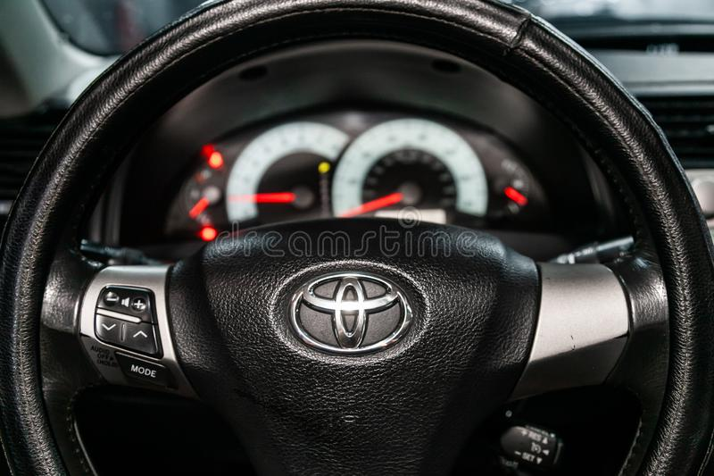 Novosibirsk, Russia  August 24, 2019:   Toyota Camry. Novosibirsk, Russia – August 24, 2019:  Toyota Camry,  close-up of the dashboard, speedometer stock photo