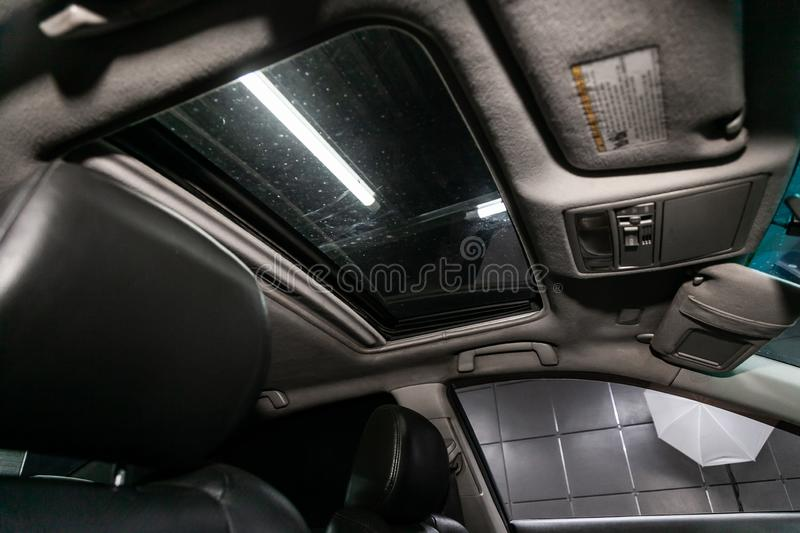 Novosibirsk, Russia  August 24, 2019:   Toyota Camry. Novosibirsk, Russia – August 24, 2019:   Toyota Camry,  Leather interior design, hatch and driver stock image