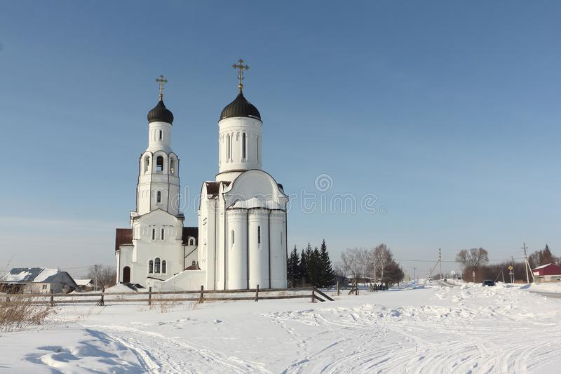 NOVOSIBIRSK, RUSSIA - February, 9: Church of Vladimir Equal to the Apostles. Taken on February, 9, 2019 in Burmistrovo village, royalty free stock images