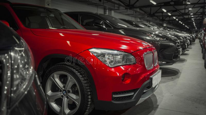 : Close-up of red gin bmw x5 royalty free stock image