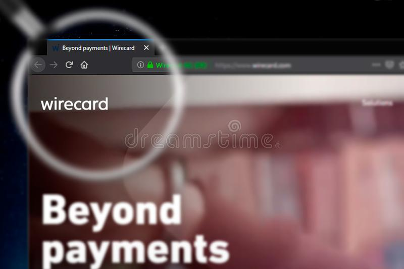 Novosibirsk, Russia - June 14, 2019 - Illustrative Editorial of Wirecard website homepage. Wirecard logo visible on display screen royalty free illustration
