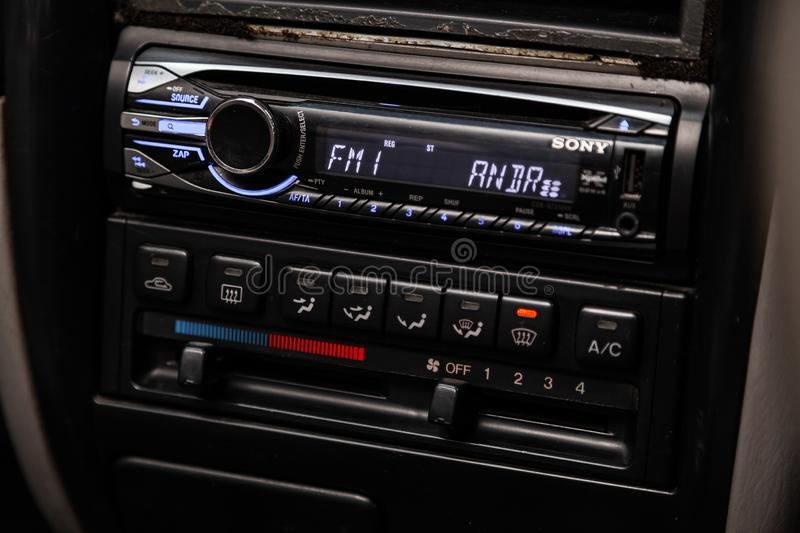 Novosibirsk, Russia June 14, 2019 Mazda Capella. Novosibirsk, Russia – June 14, 2019:  Mazda Capella,  close-up of the dashboard, adjustment of the blower royalty free stock images
