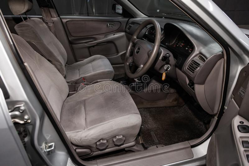 Novosibirsk, Russia June 14, 2019 Mazda Capella. Novosibirsk, Russia – June 14, 2019:  Mazda Capella, close-up of the dashboard, adjustment of the blower royalty free stock image