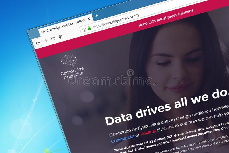 Novosibirsk, Russia - 15 maggio 2018 - homepage del sito Web ufficiale per Cambridge Analytica immagini stock